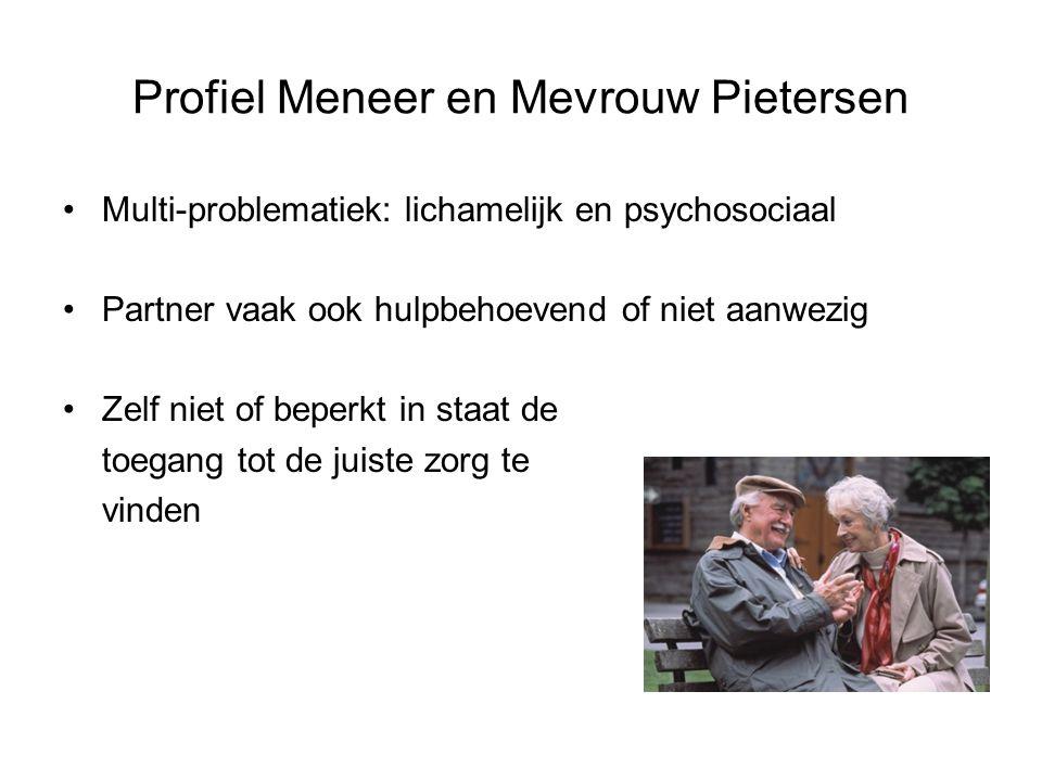 Profiel Meneer en Mevrouw Pietersen Multi-problematiek: lichamelijk en psychosociaal Partner vaak ook hulpbehoevend of niet aanwezig Zelf niet of bepe