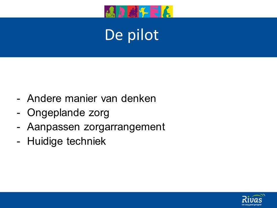 De pilot -Andere manier van denken -Ongeplande zorg -Aanpassen zorgarrangement -Huidige techniek