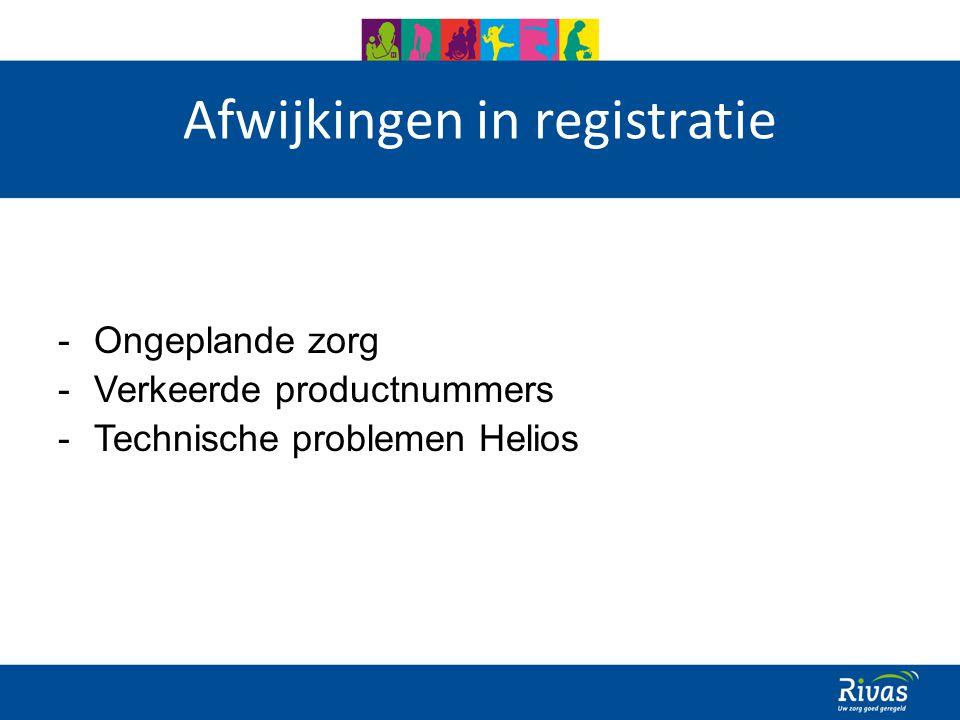 Afwijkingen in registratie -Ongeplande zorg -Verkeerde productnummers -Technische problemen Helios