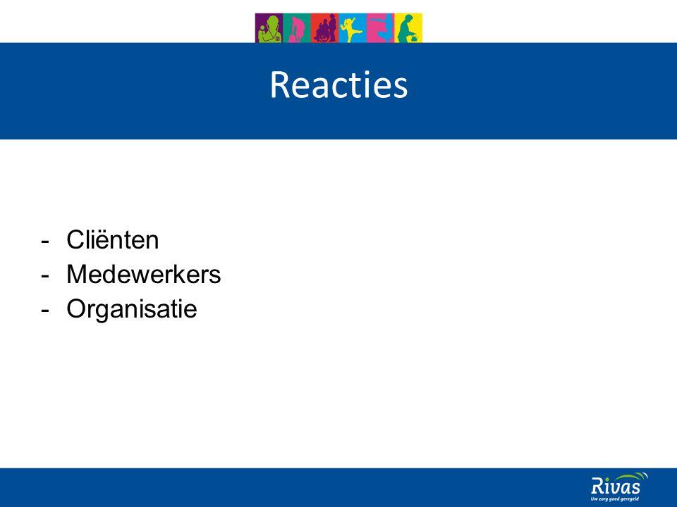Reacties -Cliënten -Medewerkers -Organisatie