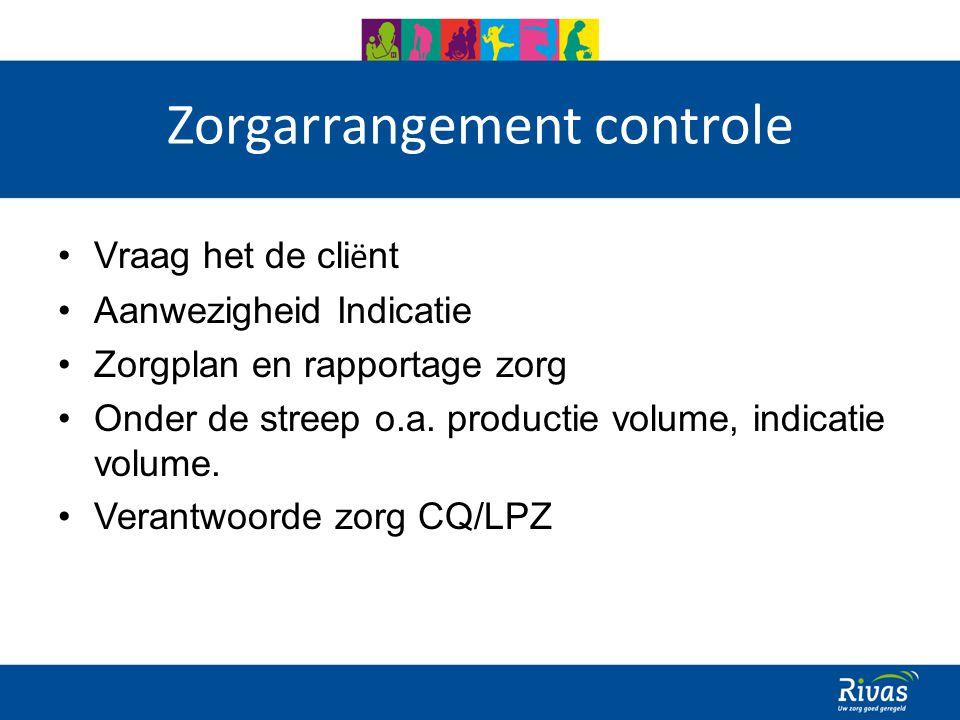 Zorgarrangement controle Vraag het de cli ë nt Aanwezigheid Indicatie Zorgplan en rapportage zorg Onder de streep o.a.