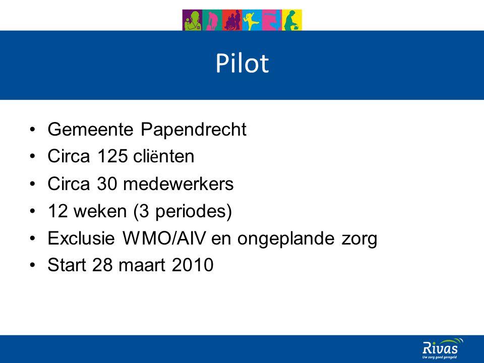 Pilot Gemeente Papendrecht Circa 125 cli ë nten Circa 30 medewerkers 12 weken (3 periodes) Exclusie WMO/AIV en ongeplande zorg Start 28 maart 2010