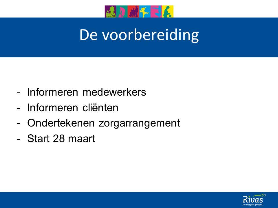 De voorbereiding -Informeren medewerkers -Informeren cliënten -Ondertekenen zorgarrangement -Start 28 maart