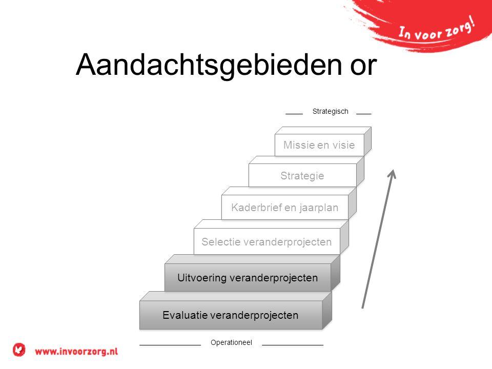 Aandachtsgebieden or Evaluatie veranderprojecten Uitvoering veranderprojecten Selectie veranderprojecten Kaderbrief en jaarplan Strategie Missie en visie Operationeel Strategisch