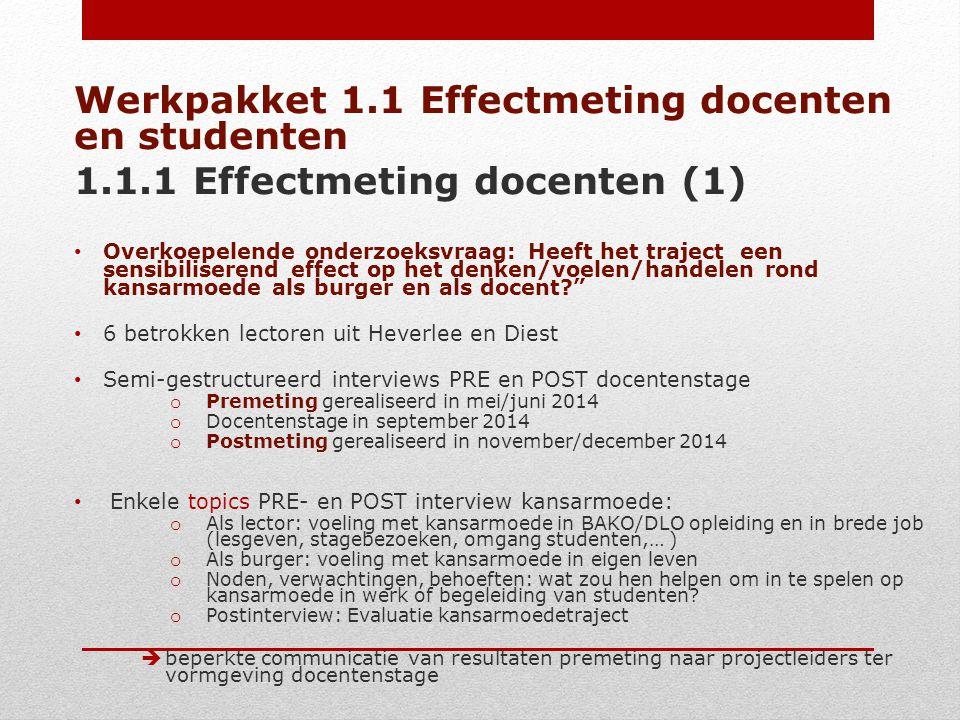Werkpakket 1.1 Effectmeting docenten en studenten 1.1.1 Effectmeting docenten (1) Overkoepelende onderzoeksvraag: Heeft het traject een sensibiliseren