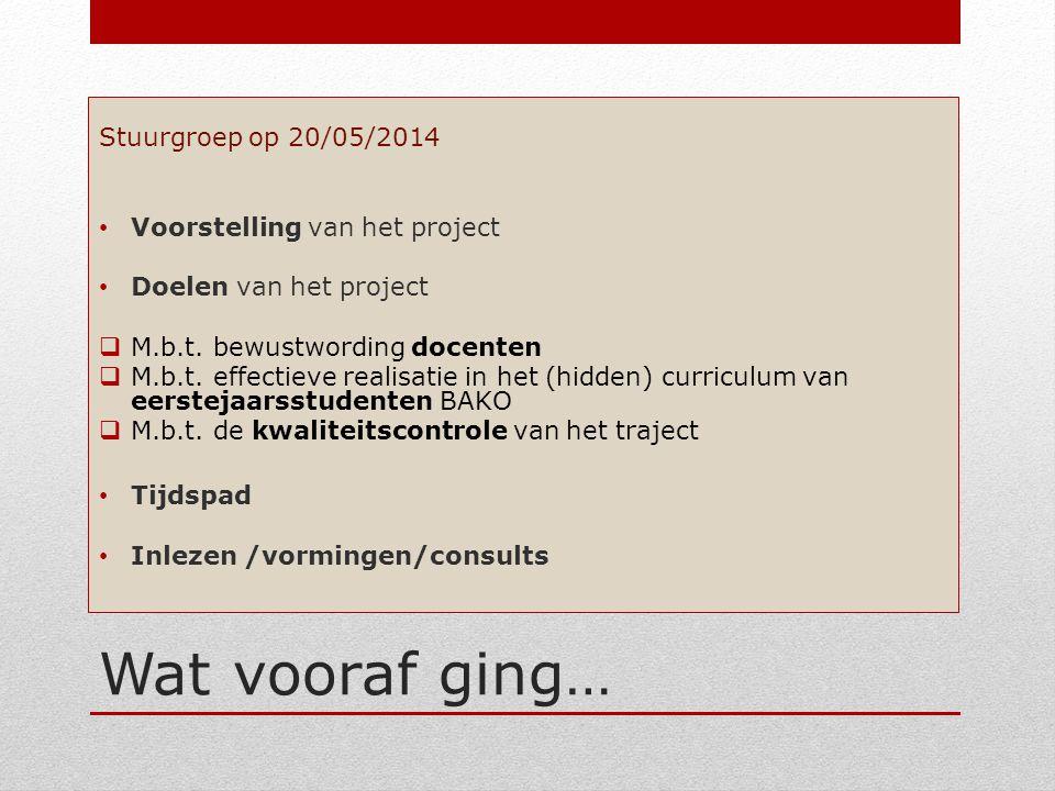 Wat vooraf ging… Stuurgroep op 20/05/2014 Voorstelling van het project Doelen van het project  M.b.t. bewustwording docenten  M.b.t. effectieve real