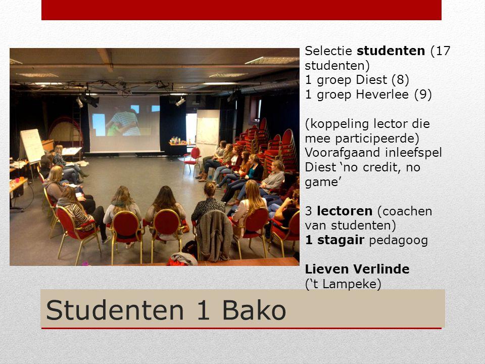Studenten 1 Bako Selectie studenten (17 studenten) 1 groep Diest (8) 1 groep Heverlee (9) (koppeling lector die mee participeerde) Voorafgaand inleefs