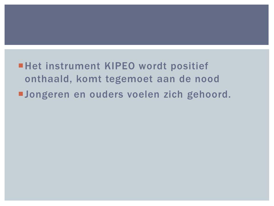  Het instrument KIPEO wordt positief onthaald, komt tegemoet aan de nood  Jongeren en ouders voelen zich gehoord.