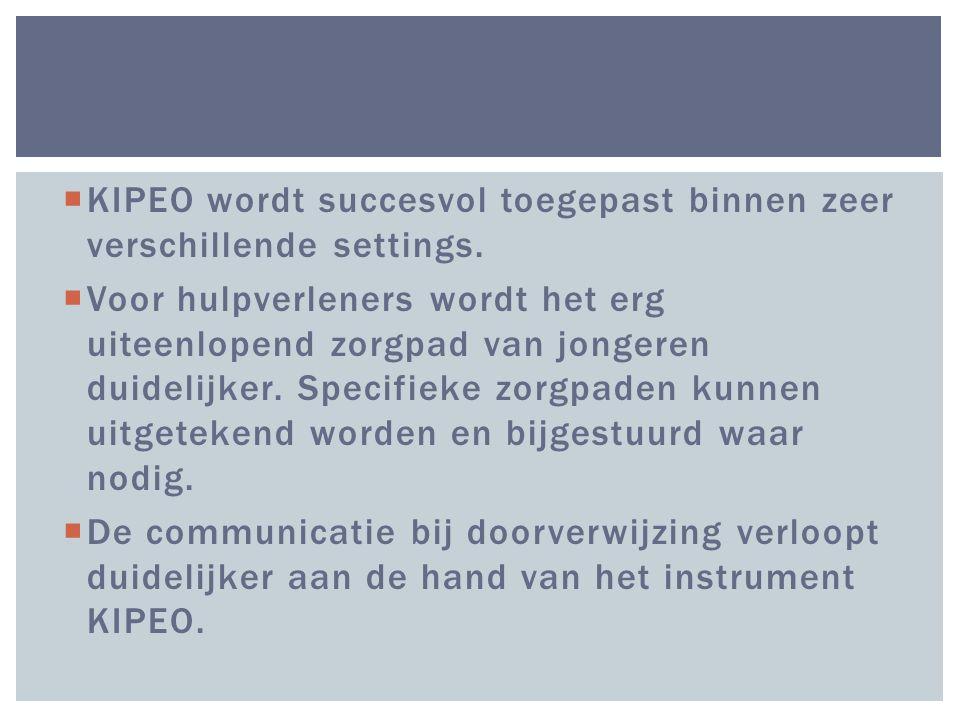 KIPEO wordt succesvol toegepast binnen zeer verschillende settings.