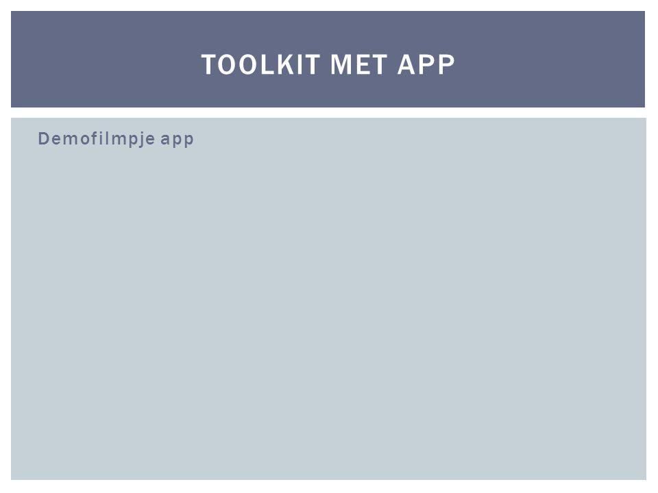 Demofilmpje app TOOLKIT MET APP