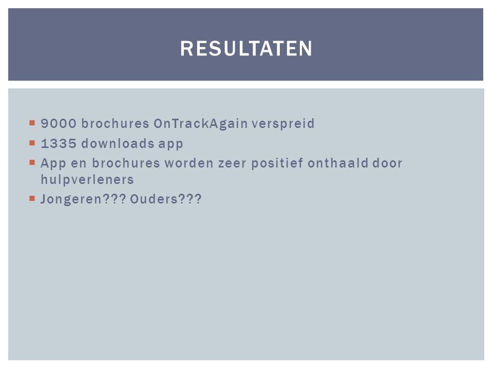  9000 brochures OnTrackAgain verspreid  1335 downloads app  App en brochures worden zeer positief onthaald door hulpverleners  Jongeren??.