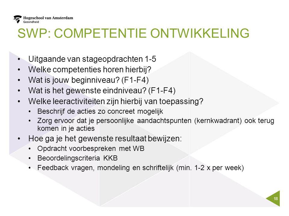 SWP: COMPETENTIE ONTWIKKELING 18 Uitgaande van stageopdrachten 1-5 Welke competenties horen hierbij? Wat is jouw beginniveau? (F1-F4) Wat is het gewen