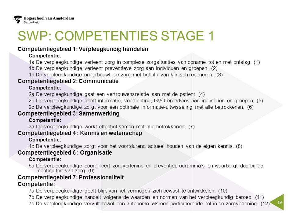 SWP: COMPETENTIES STAGE 1 Competentiegebied 1: Verpleegkundig handelen Competentie: 1a De verpleegkundige verleent zorg in complexe zorgsituaties van