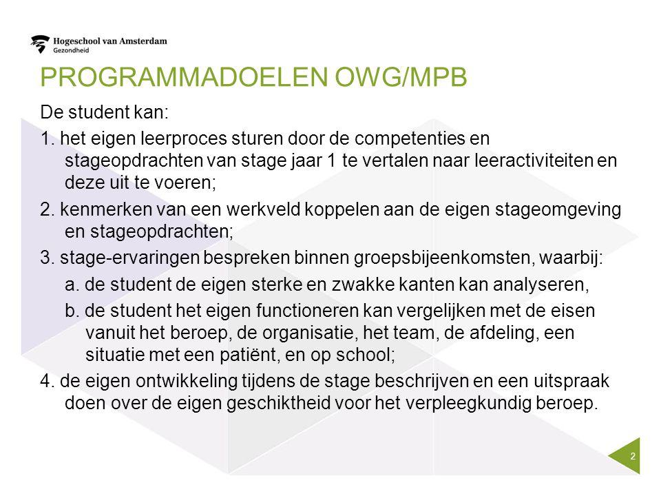 PROGRAMMADOELEN OWG/MPB De student kan: 1. het eigen leerproces sturen door de competenties en stageopdrachten van stage jaar 1 te vertalen naar leera