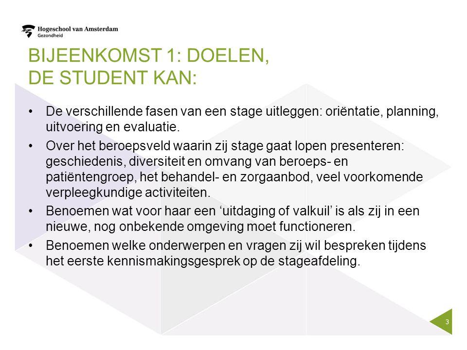 BIJEENKOMST 1: DOELEN, DE STUDENT KAN: De verschillende fasen van een stage uitleggen: oriëntatie, planning, uitvoering en evaluatie. Over het beroeps