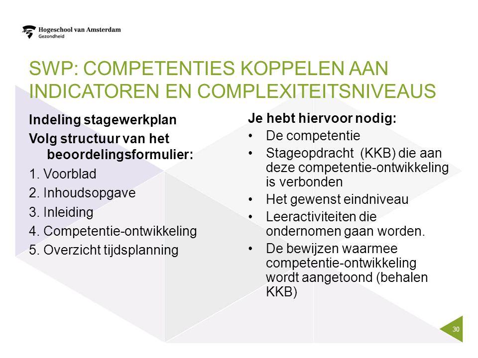 SWP: COMPETENTIES KOPPELEN AAN INDICATOREN EN COMPLEXITEITSNIVEAUS Indeling stagewerkplan Volg structuur van het beoordelingsformulier: 1. Voorblad 2.