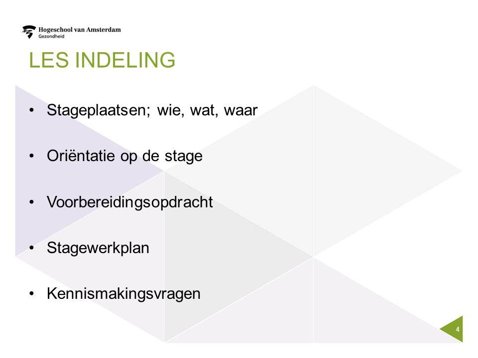 LES INDELING Stageplaatsen; wie, wat, waar Oriëntatie op de stage Voorbereidingsopdracht Stagewerkplan Kennismakingsvragen 4