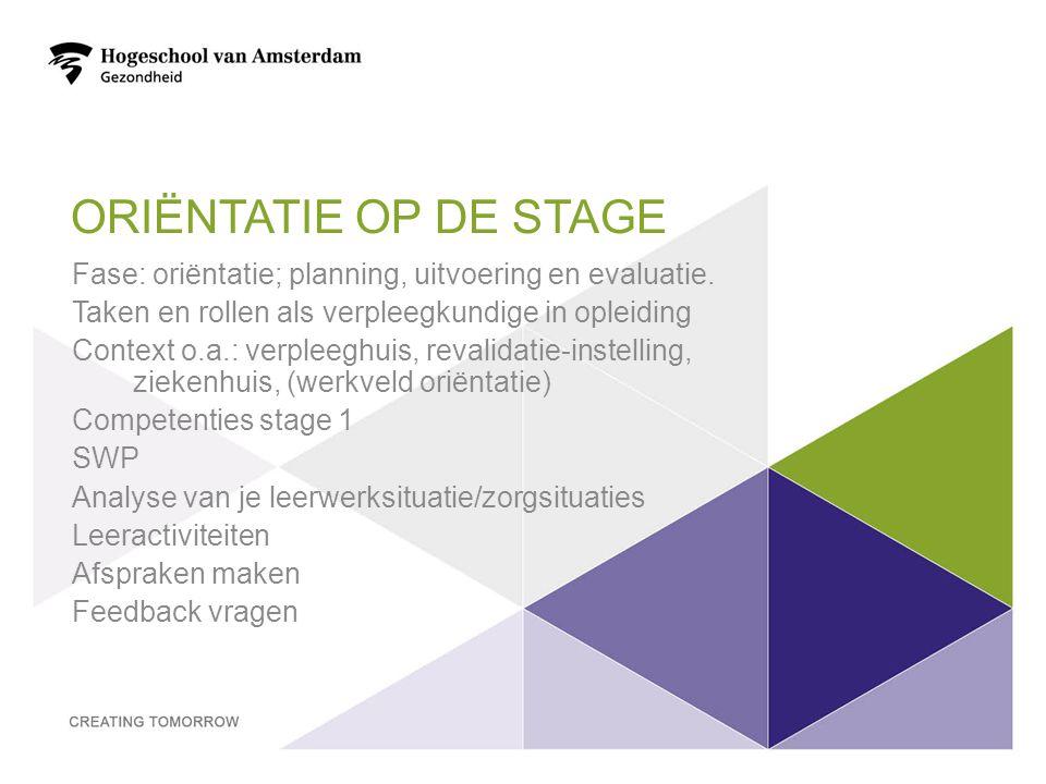 ORIËNTATIE OP DE STAGE Fase: oriëntatie; planning, uitvoering en evaluatie. Taken en rollen als verpleegkundige in opleiding Context o.a.: verpleeghui