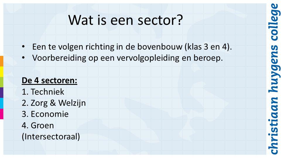 Wat is een sector.Een te volgen richting in de bovenbouw (klas 3 en 4).