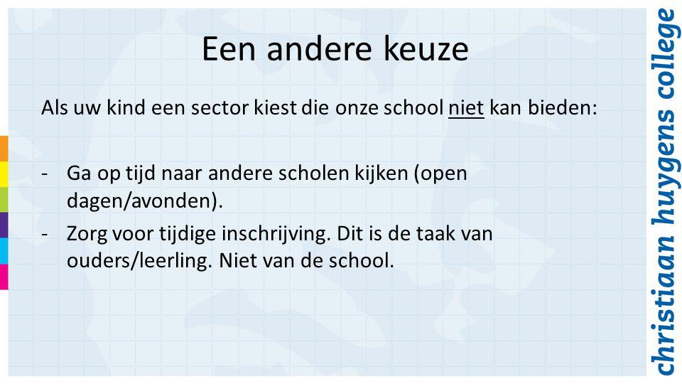 Een andere keuze Als uw kind een sector kiest die onze school niet kan bieden: -Ga op tijd naar andere scholen kijken (open dagen/avonden).