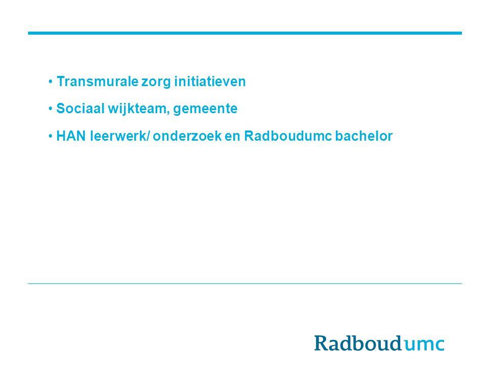 Transmurale zorg initiatieven Sociaal wijkteam, gemeente HAN leerwerk/ onderzoek en Radboudumc bachelor
