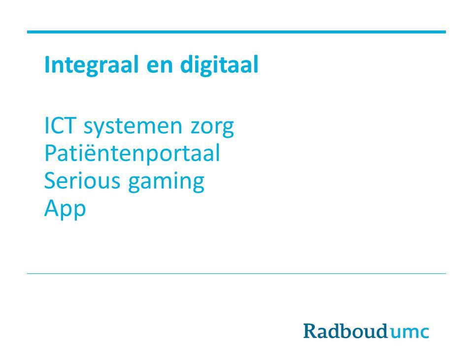 Integraal en digitaal ICT systemen zorg Patiëntenportaal Serious gaming App