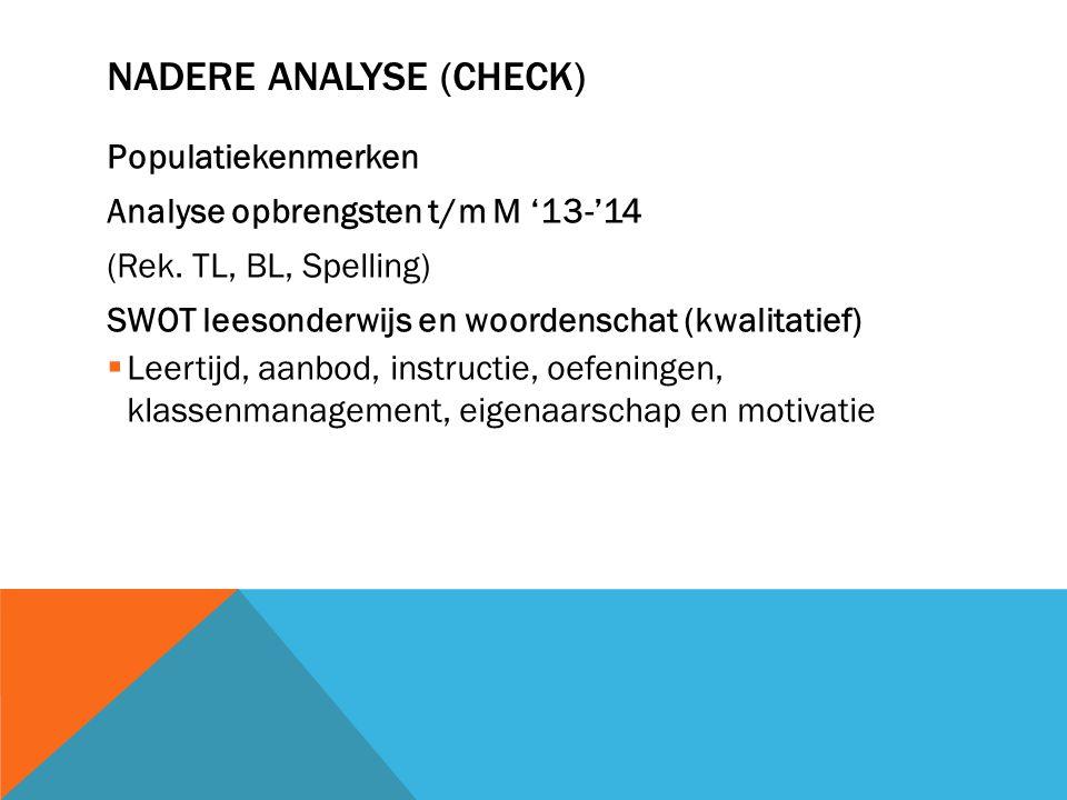 NADERE ANALYSE (CHECK) Populatiekenmerken Analyse opbrengsten t/m M '13-'14 (Rek. TL, BL, Spelling) SWOT leesonderwijs en woordenschat (kwalitatief) 