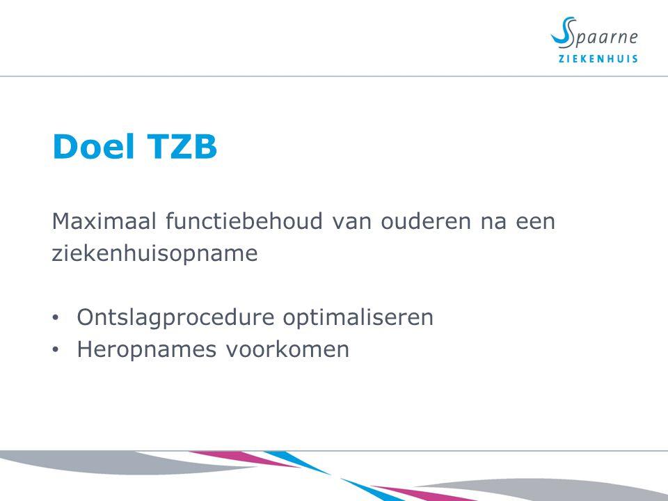 Doel TZB Maximaal functiebehoud van ouderen na een ziekenhuisopname Ontslagprocedure optimaliseren Heropnames voorkomen
