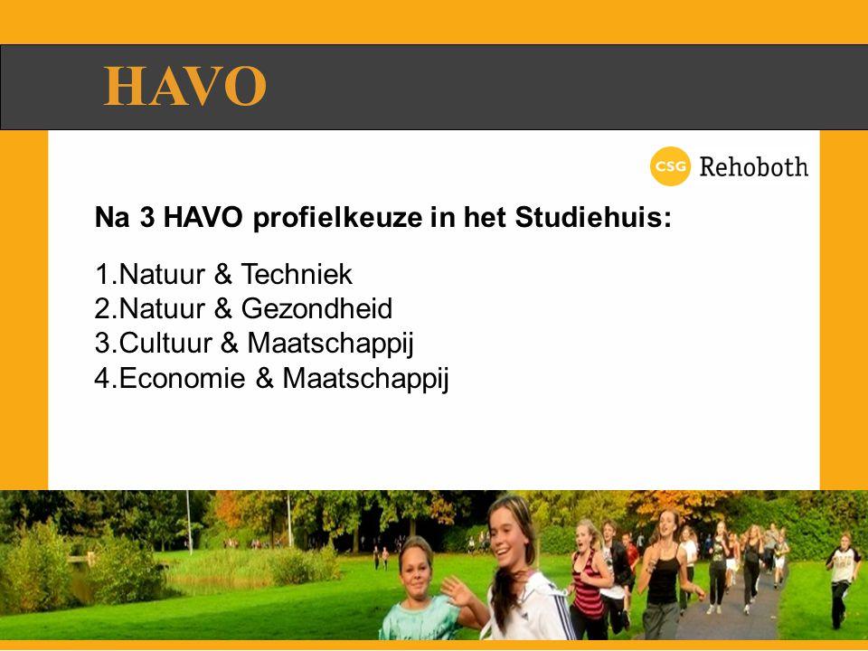 HAVO Na 3 HAVO profielkeuze in het Studiehuis: 1.Natuur & Techniek 2.Natuur & Gezondheid 3.Cultuur & Maatschappij 4.Economie & Maatschappij