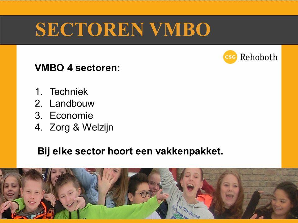 SECTOREN VMBO VMBO 4 sectoren: 1.Techniek 2.Landbouw 3.Economie 4.Zorg & Welzijn Bij elke sector hoort een vakkenpakket.