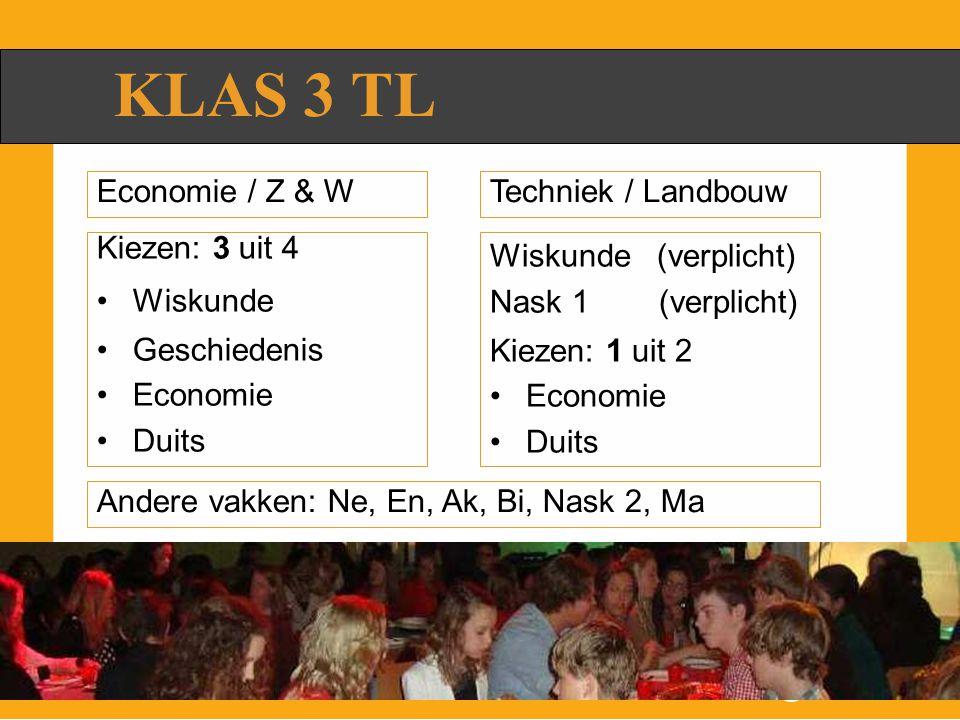 KLAS 3 TL Techniek / Landbouw Kiezen: 3 uit 4 Wiskunde Geschiedenis Economie Duits Wiskunde (verplicht) Nask 1 (verplicht) Kiezen: 1 uit 2 Economie Duits Economie / Z & W Andere vakken: Ne, En, Ak, Bi, Nask 2, Ma
