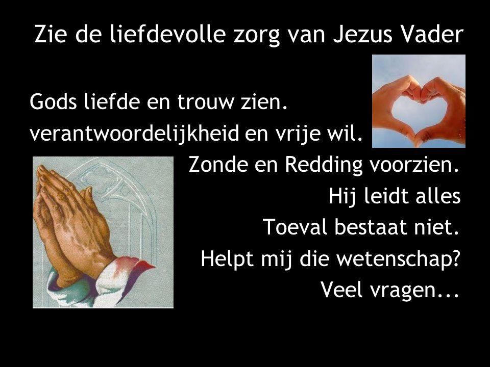 Zie de liefdevolle zorg van Jezus Vader Gods liefde en trouw zien. verantwoordelijkheid en vrije wil. Zonde en Redding voorzien. Hij leidt alles Toeva