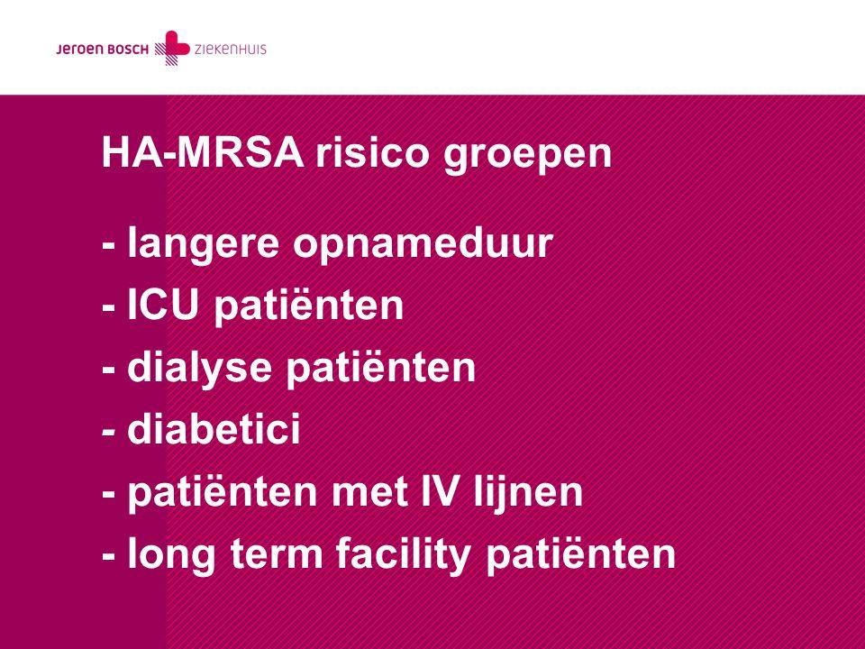HA-MRSA risico groepen - langere opnameduur - ICU patiënten - dialyse patiënten - diabetici - patiënten met IV lijnen - long term facility patiënten
