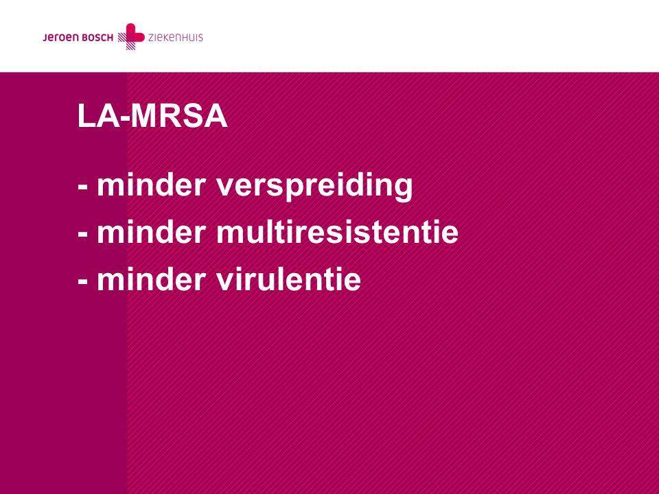 LA-MRSA - minder verspreiding - minder multiresistentie - minder virulentie