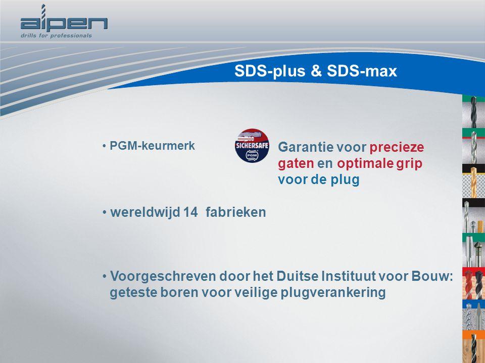 PGM-keurmerk wereldwijd 14 fabrieken Voorgeschreven door het Duitse Instituut voor Bouw: geteste boren voor veilige plugverankering Garantie voor prec