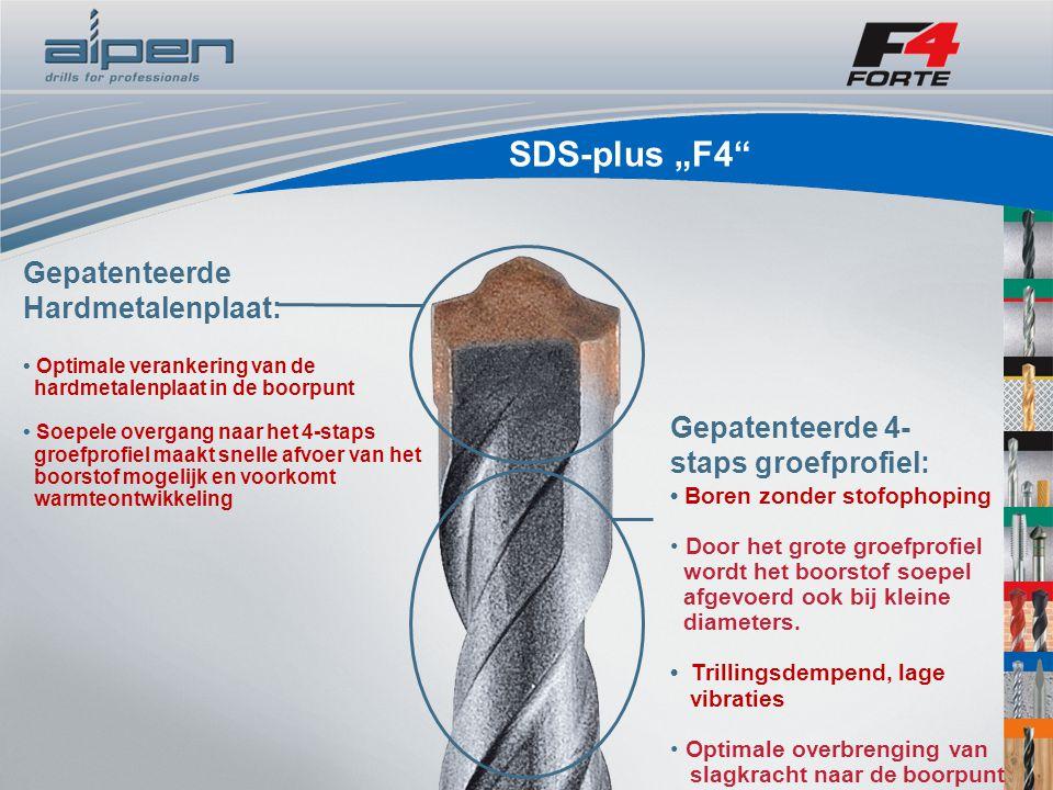 """SDS-plus """"F4 Gepatenteerde Hardmetalenplaat: Optimale verankering van de hardmetalenplaat in de boorpunt Soepele overgang naar het 4-staps groefprofiel maakt snelle afvoer van het boorstof mogelijk en voorkomt warmteontwikkeling Gepatenteerde 4- staps groefprofiel: Boren zonder stofophoping Door het grote groefprofiel wordt het boorstof soepel afgevoerd ook bij kleine diameters."""