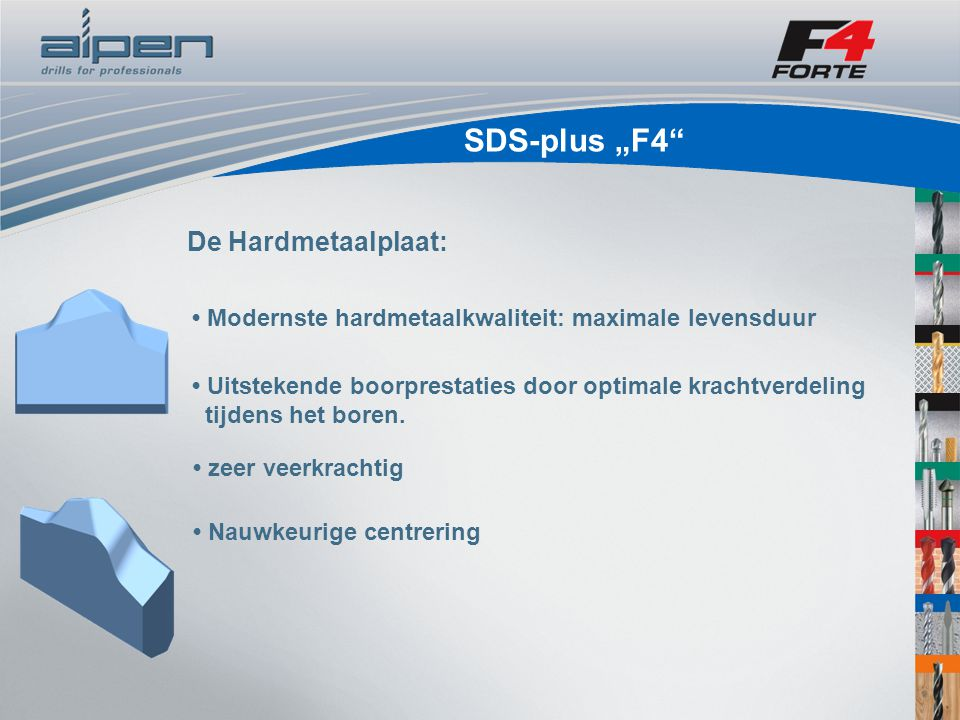 """SDS-plus """"F4 Hogere boorcapaciteit Voordelen voor de gebruiker: Langere levensduur, minder slijtage Draait soepeler Met hogere snelheid boren door geoptimaliseerde boorstof afvoer Zeer goede overdracht van de slagenergie voor de hardmetalen plaat - beste beitelwerking Nauwkeurige centrering"""