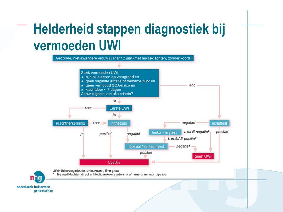 Transparantie diagnose bij mictieklachten Positieve dipslide  UWI Negatieve dipslide  diagnose UWI verworpen, bij aanhouden klachten  soa.