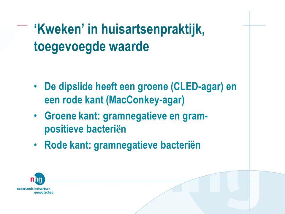 'Kweken' in huisartsenpraktijk, toegevoegde waarde De dipslide heeft een groene (CLED-agar) en een rode kant (MacConkey-agar) Groene kant: gramnegatieve en gram- positieve bacteri ë n Rode kant: gramnegatieve bacteriën