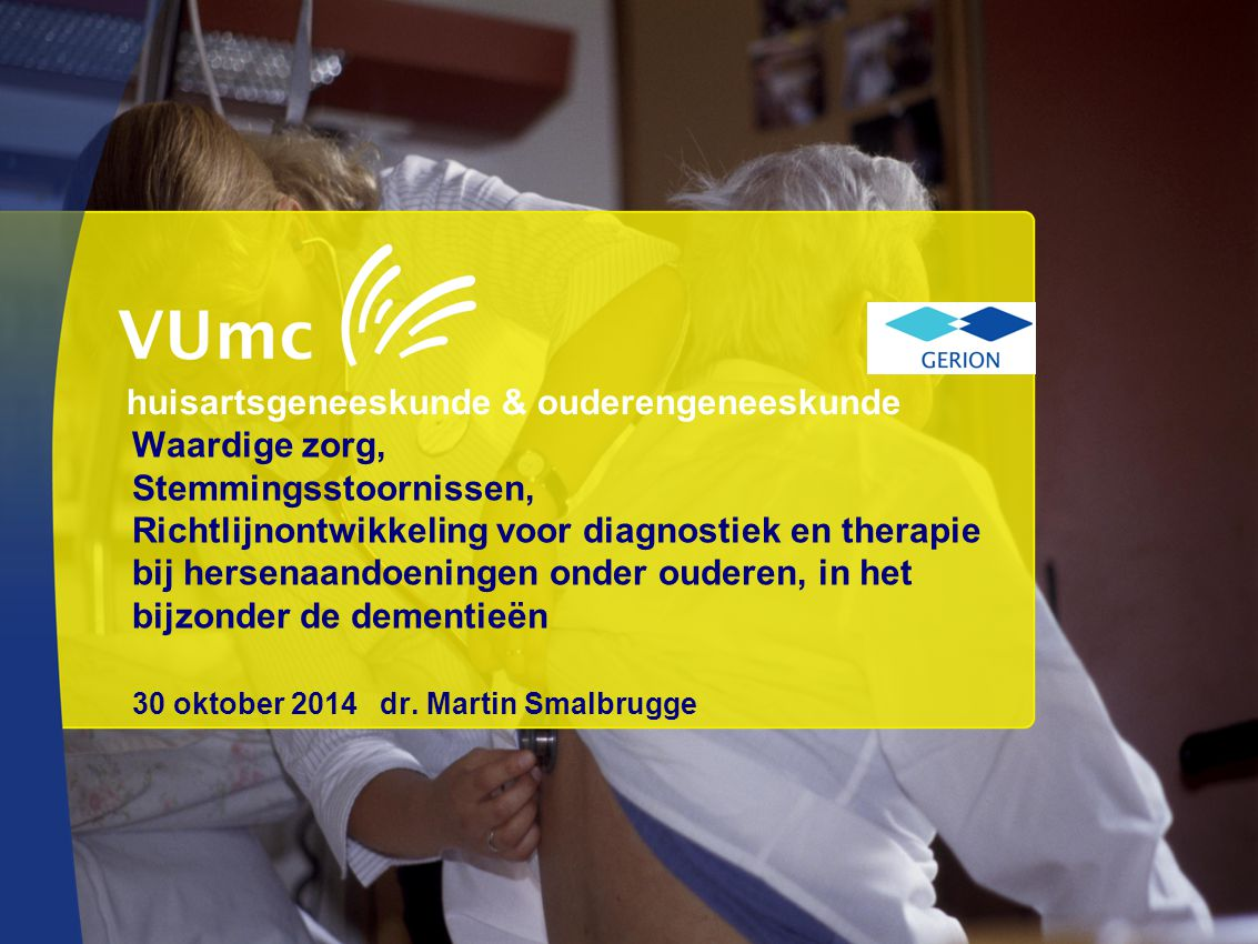 Waardige zorg, Stemmingsstoornissen, Richtlijnontwikkeling voor diagnostiek en therapie bij hersenaandoeningen onder ouderen, in het bijzonder de deme