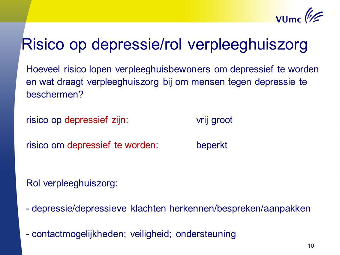 10 Risico op depressie/rol verpleeghuiszorg Hoeveel risico lopen verpleeghuisbewoners om depressief te worden en wat draagt verpleeghuiszorg bij om me