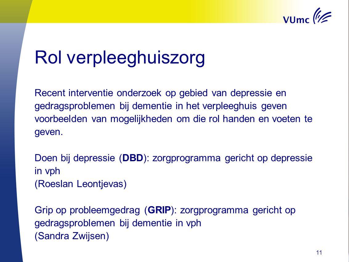 Rol verpleeghuiszorg Recent interventie onderzoek op gebied van depressie en gedragsproblemen bij dementie in het verpleeghuis geven voorbeelden van m