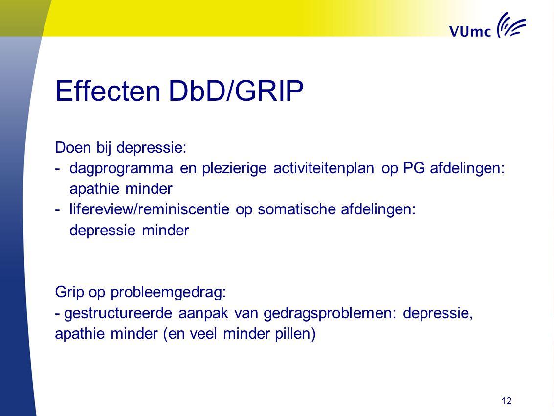Effecten DbD/GRIP Doen bij depressie: -dagprogramma en plezierige activiteitenplan op PG afdelingen: apathie minder -lifereview/reminiscentie op somat