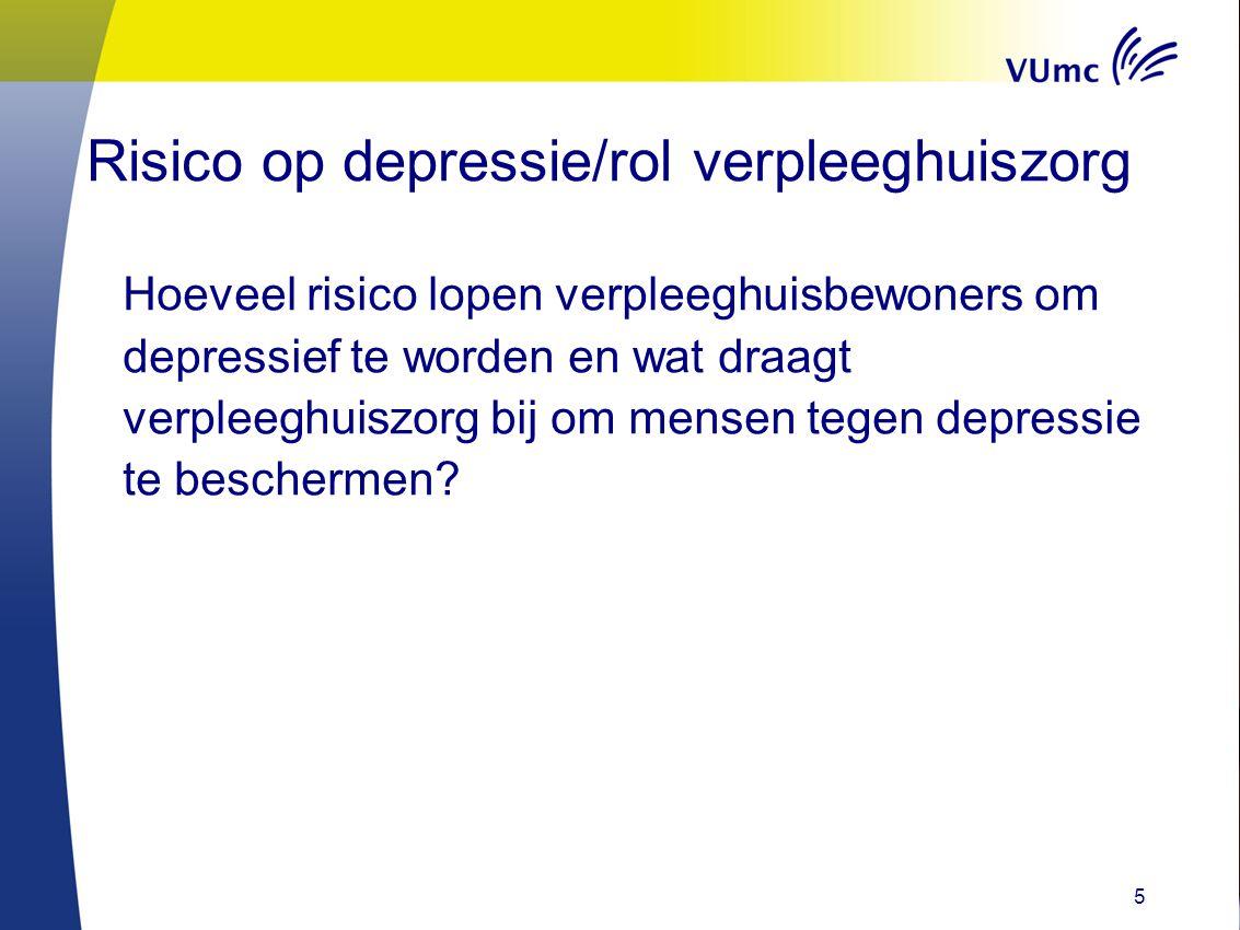 5 Risico op depressie/rol verpleeghuiszorg Hoeveel risico lopen verpleeghuisbewoners om depressief te worden en wat draagt verpleeghuiszorg bij om men