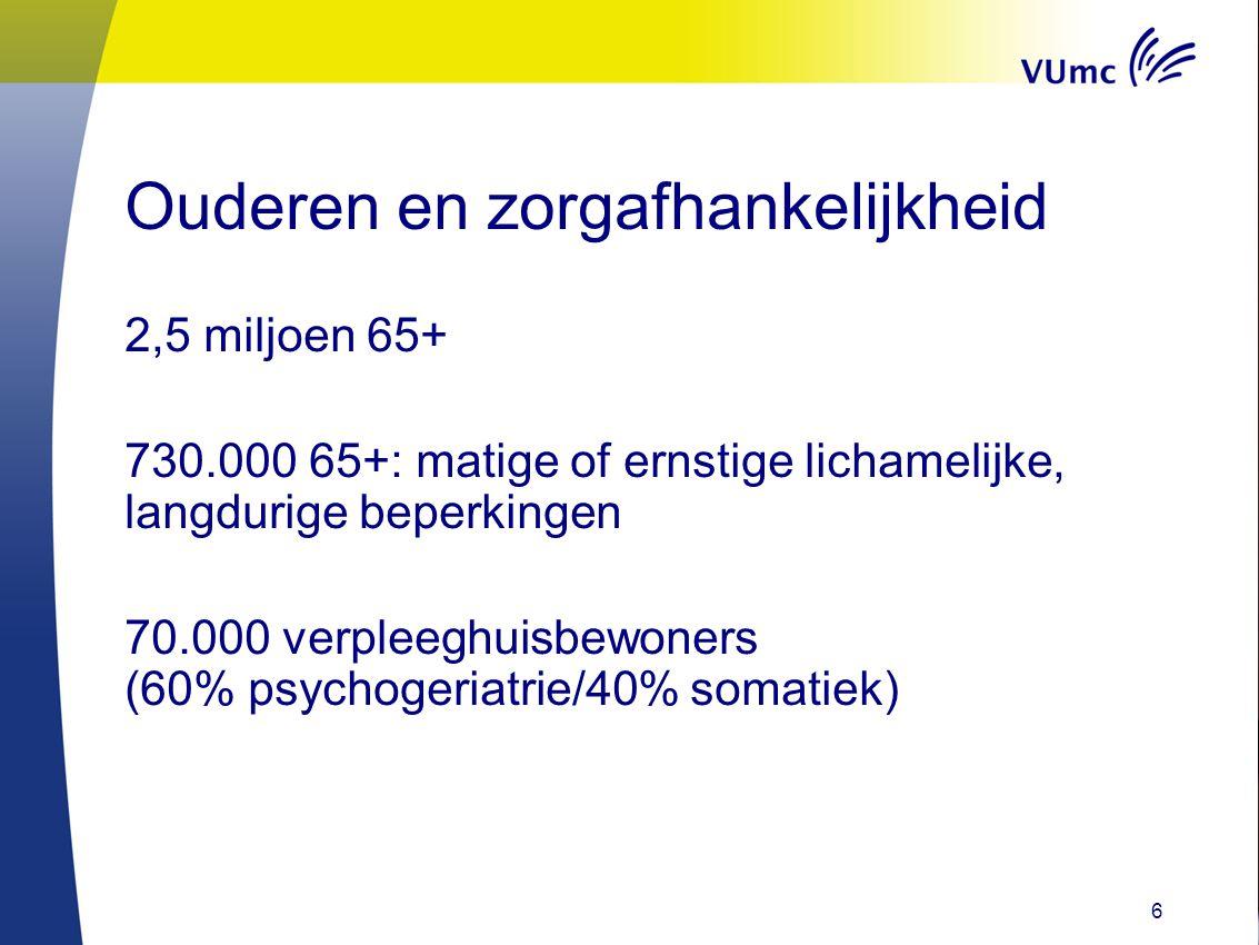 Ouderen en zorgafhankelijkheid 6 2,5 miljoen 65+ 730.000 65+: matige of ernstige lichamelijke, langdurige beperkingen 70.000 verpleeghuisbewoners (60%
