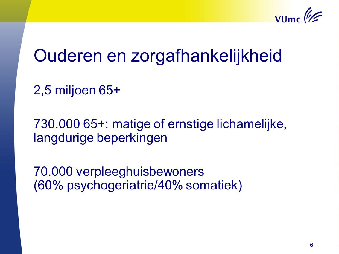 Depressie in vph Amsterdam Groningen Elderly Depression (AGED) study (Beekman, Eefsting, Eisses, Jongenelis, Kluiter, Ormel, Pot, Ribbe, Smalbrugge) vóórkomen op peildatum 22% depressie 20% depressieve klachten beloop 6 mnd depressie/depressieve klachten nemen af met 30% bij 5% ontstonden depressie/depressieve klachten 7