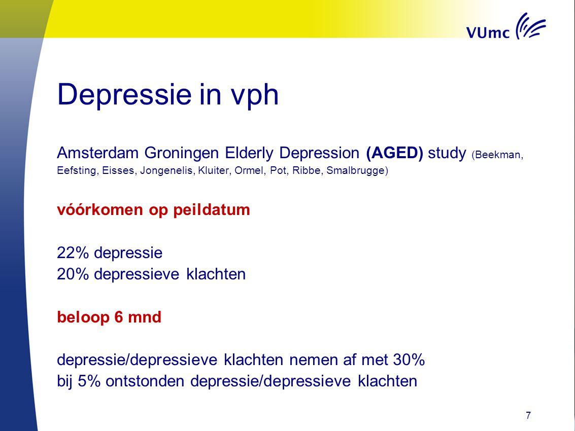 Risicofactoren AGED study Risicofactoren voor het hebben van depressie: - leeftijd < 80jr - mate van verstedelijking - pijn - visus beperking - beroerte - eenzaamheid - ervaren gebrek aan kwaliteit van zorg 8