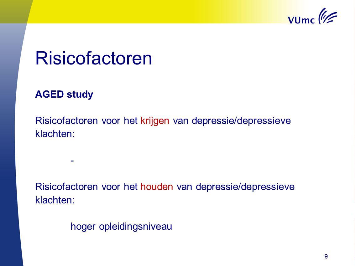 Risicofactoren AGED study Risicofactoren voor het krijgen van depressie/depressieve klachten: - Risicofactoren voor het houden van depressie/depressie