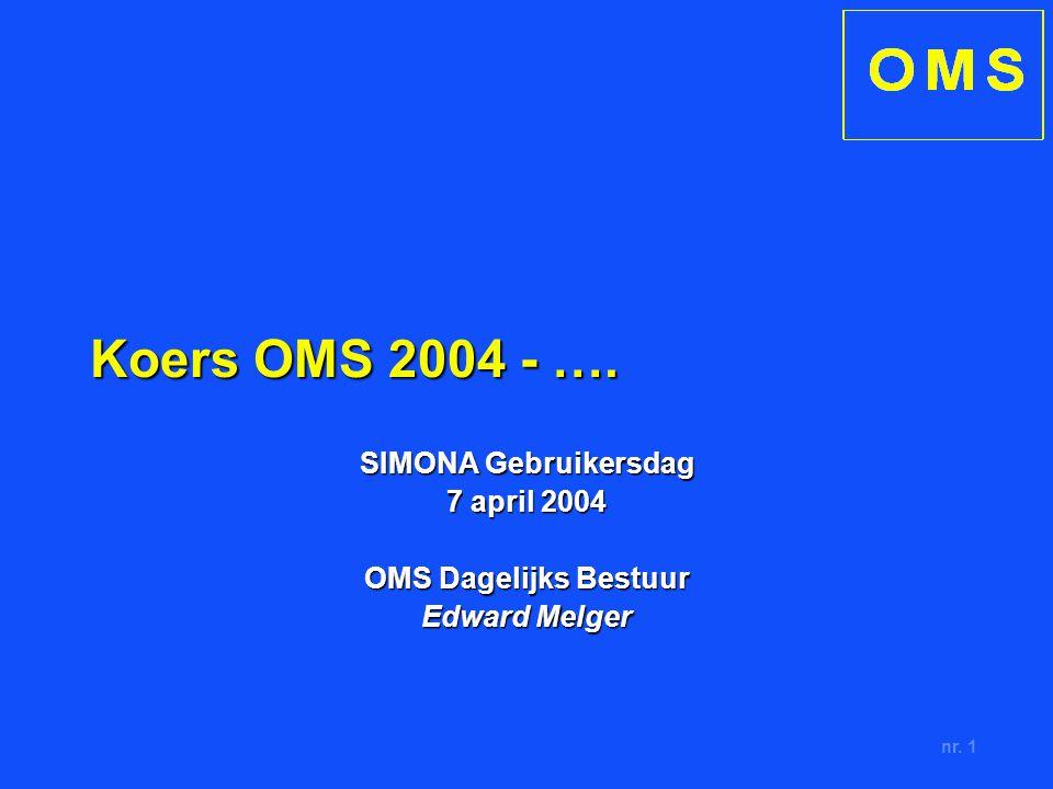 nr. 1 Koers OMS 2004 - …. SIMONA Gebruikersdag 7 april 2004 OMS Dagelijks Bestuur Edward Melger
