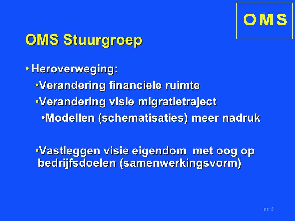 nr. 5 OMS Stuurgroep Heroverweging:Heroverweging: Verandering financiele ruimteVerandering financiele ruimte Verandering visie migratietrajectVerander